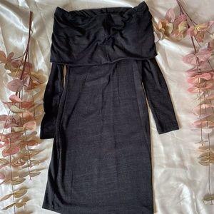 Babaton Off Shoulder Long Sleeve Mid Length Dress